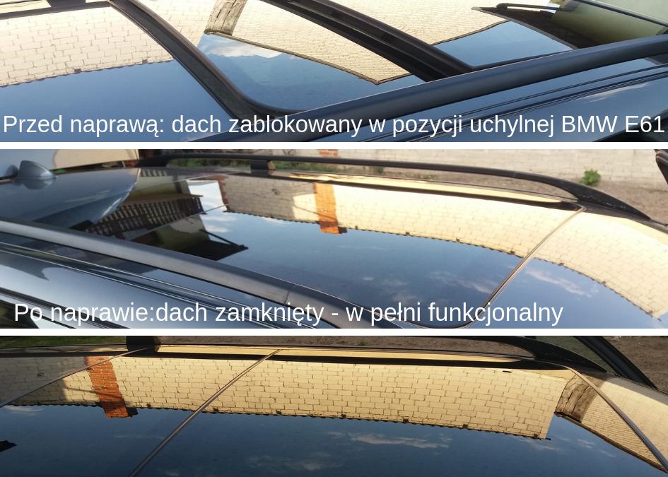 Naprawa dachu panoramicznego BMW E61 – dach zacięty w pozycji otwartej